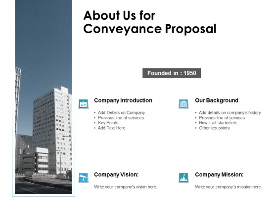 About Us For Conveyance Proposal Ppt PowerPoint Presentation Slides Example Topics