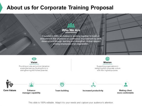 About Us For Corporate Training Proposal Ppt PowerPoint Presentation Ideas Graphics Template