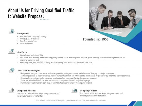 About Us For Driving Qualified Traffic To Website Proposal Ppt PowerPoint Presentation Layouts Format PDF