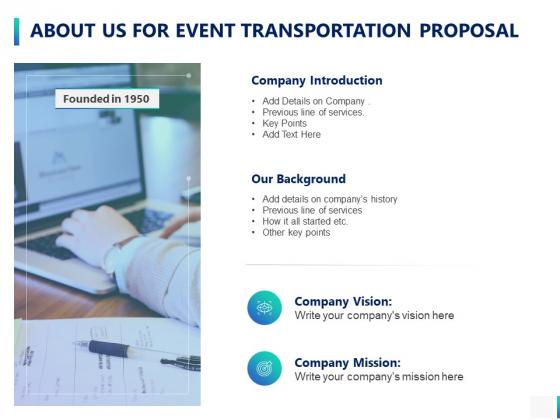 About Us For Event Transportation Proposal Ppt PowerPoint Presentation Model Demonstration