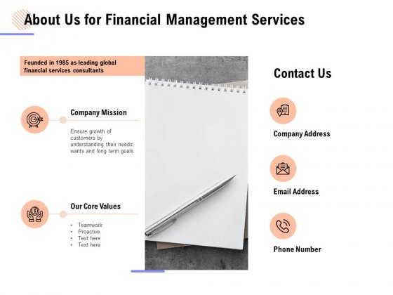 About Us For Financial Management Services Ppt PowerPoint Presentation Portfolio Format Ideas