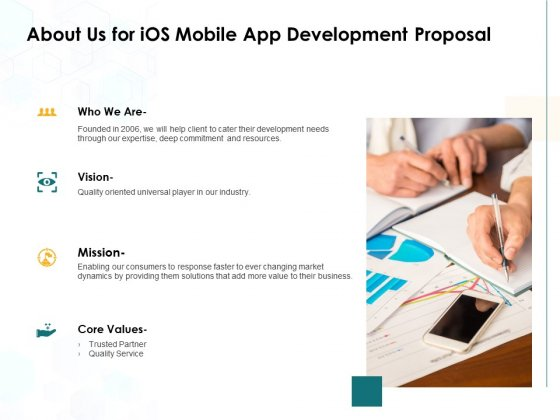 About Us For IOS Mobile App Development Proposal Ppt PowerPoint Presentation Inspiration Graphics Design