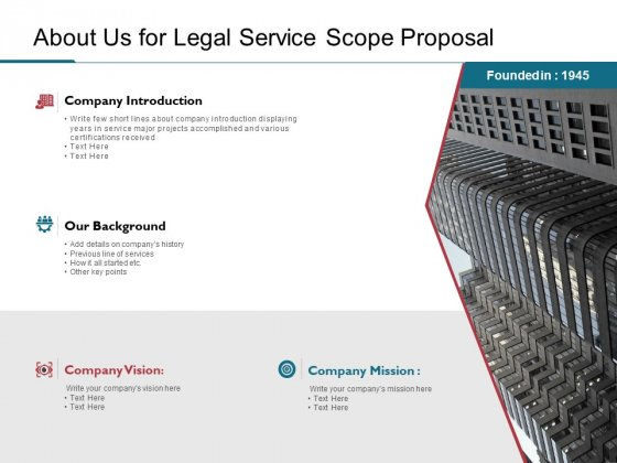 About Us For Legal Service Scope Proposal Ppt PowerPoint Presentation Ideas Elements