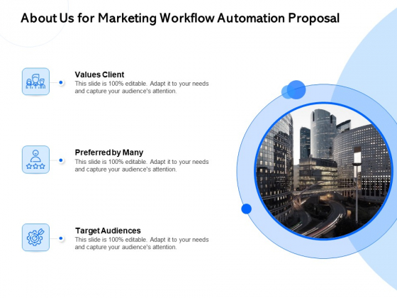 About Us For Marketing Workflow Automation Proposal Ppt PowerPoint Presentation File Slide Portrait PDF