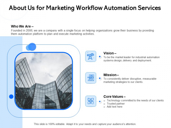 About Us For Marketing Workflow Automation Services Ppt PowerPoint Presentation File Graphics Tutorials PDF