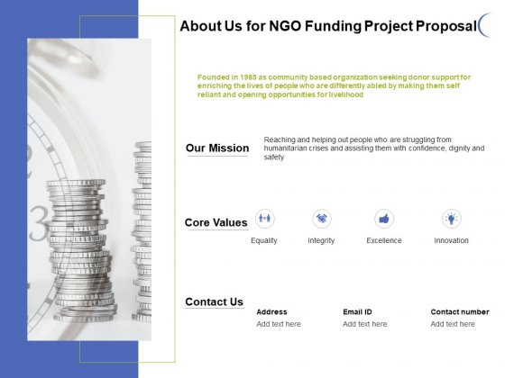 About Us For NGO Funding Project Proposal Ppt PowerPoint Presentation File Deck