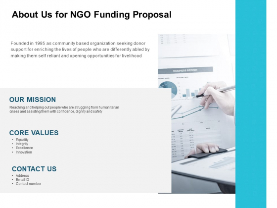 About Us For NGO Funding Proposal Ppt PowerPoint Presentation Icon Portrait