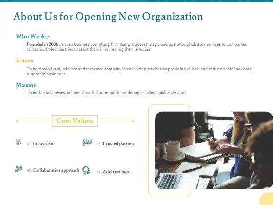 About Us For Opening New Organization Ppt PowerPoint Presentation Slides Graphics Pictures PDF