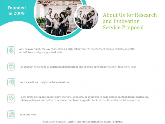 About Us For Research And Innovation Service Proposal Ppt PowerPoint Presentation Portfolio Inspiration PDF