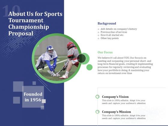About Us For Sports Tournament Championship Proposal Ppt Professional Deck PDF