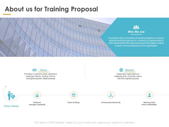 About Us For Training Proposal Ppt PowerPoint Presentation Pictures Designs Download