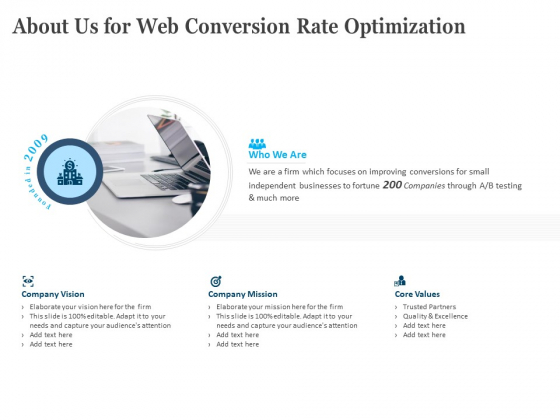 About Us For Web Conversion Rate Optimization Ppt PowerPoint Presentation Outline Designs Download PDF