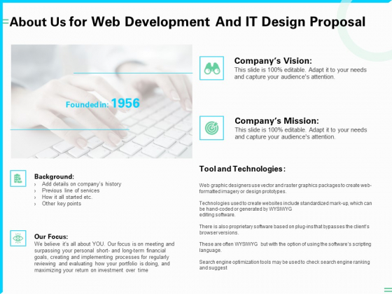 About Us For Web Development And IT Design Proposal Ppt PowerPoint Presentation Model Deck PDF