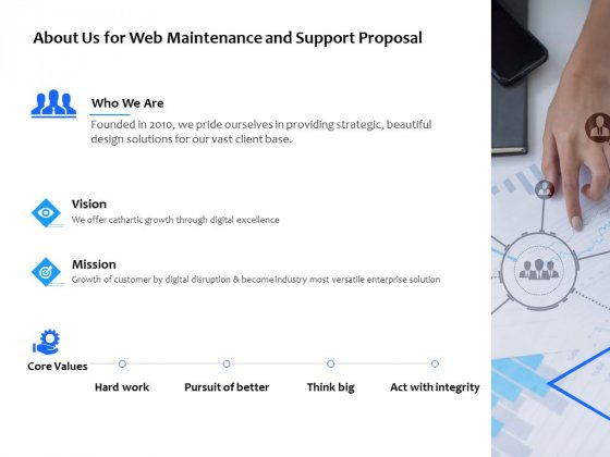 About Us For Web Maintenance And Support Proposal Ppt PowerPoint Presentation Infographic Template Rules