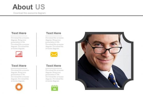 About Us Infographic Slide Design Powerpoint Slides