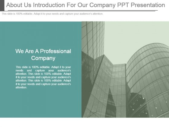About Us Introduction For Our Company Ppt Presentation