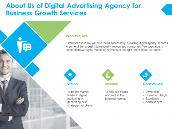 About Us Of Digital Advertising Agency For Business Growth Services Ppt PowerPoint Presentation Slides Show