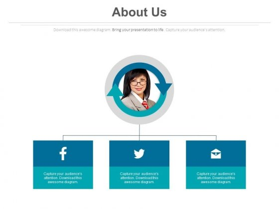 About Us Page With Social Media Links Powerpoint Slides