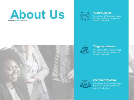 About Us Target Audiences Ppt Powerpoint Presentation Summary Graphics Example