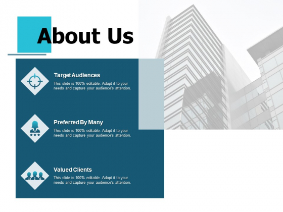 About Us Target Audiences Preferred By Many Values Client Ppt PowerPoint Presentation Gallery Graphics Pictures
