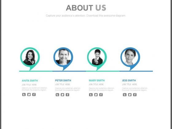 About Us Team Profile With Social Media Links Powerpoint Slides