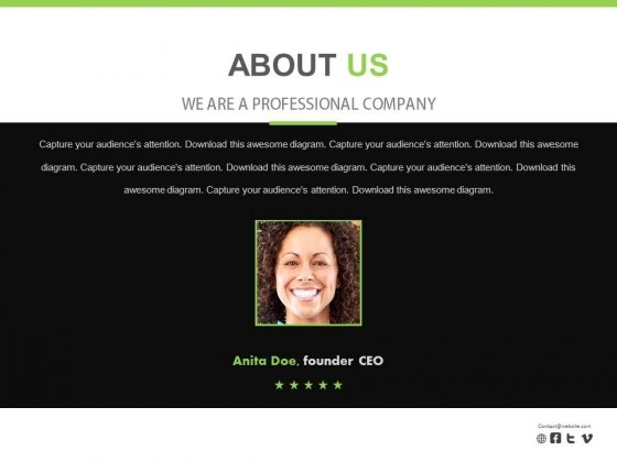 About Us With Founder Ceo Photo Powerpoint Slides