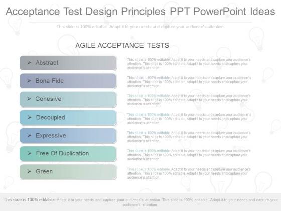 Acceptance Test Design Principles Ppt Powerpoint Ideas