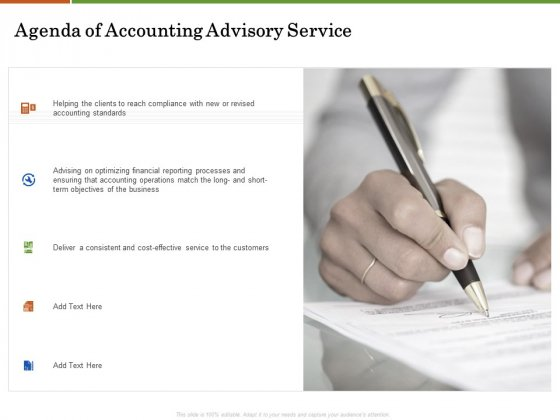 Accounting Advisory Services For Organization Agenda Of Accounting Advisory Service Icons PDF