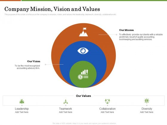 Accounting Advisory Services For Organization Company Mission Vision And Values Ppt PowerPoint Presentation File Structure PDF