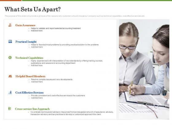 Accounting Advisory Services For Organization What Sets Us Apart Ppt PowerPoint Presentation Icon Elements PDF