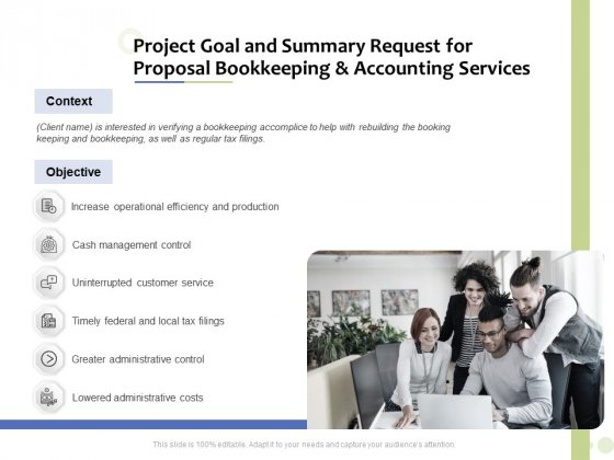 Accounting_And_Tax_Services_Project_Goal_And_Summary_Request_For_Bookkeeping_And_Accounting_Services_Summary_PDF_Slide_1