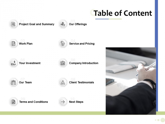 Accounting And Tax Services Table Of Content Download PDF