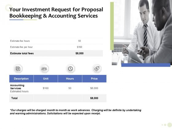 Accounting And Tax Services Your Investment Request For Bookkeeping And Accounting Services Elements PDF