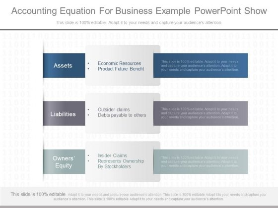 Accounting Equation For Business Example Powerpoint Show