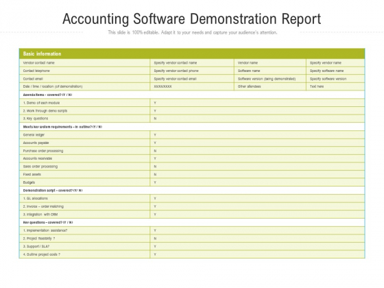 Accounting Software Demonstration Report Ppt Model Tips PDF