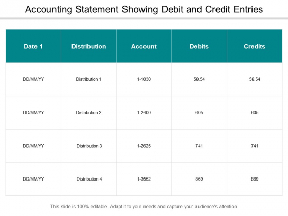 Accounting Statement Showing Debit And Credit Entries Ppt PowerPoint Presentation Inspiration Portfolio