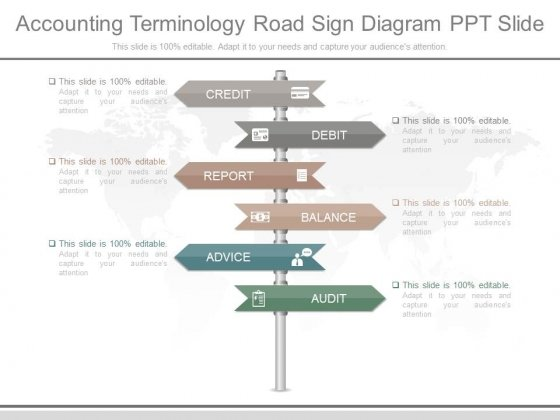 Accounting Terminology Road Sign Diagram Ppt Slide