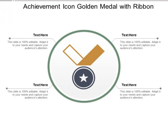Achievement Icon Golden Medal With Ribbon Ppt PowerPoint Presentation Inspiration Shapes