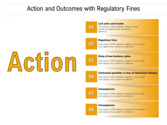 Action And Outcomes With Regulatory Fines Ppt PowerPoint Presentation Infographics Designs Download PDF