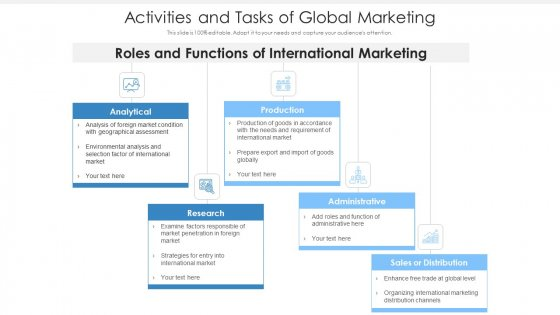 Activities And Tasks Of Global Marketing Ppt Styles Sample PDF