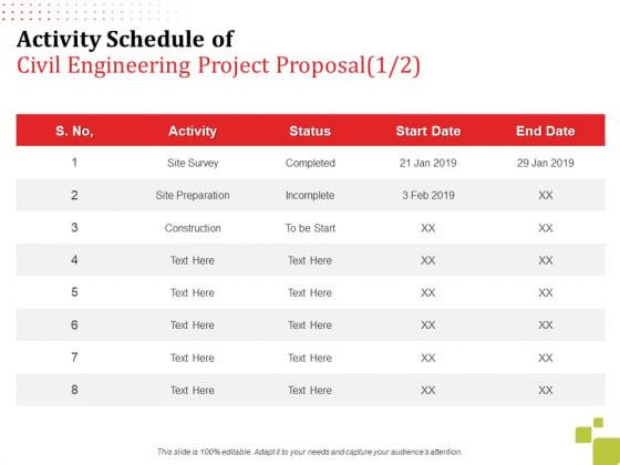 Activity Schedule Of Civil Engineering Project Proposal Survey Ppt Slides Graphics PDF