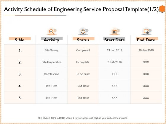 Activity Schedule Of Engineering Service Proposal Template Date Background PDF