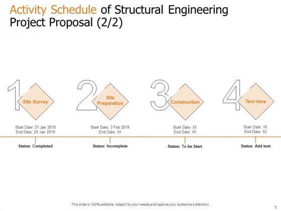 Activity Schedule Of Structural Engineering Project Proposal Survey Ppt Layouts Example File PDF