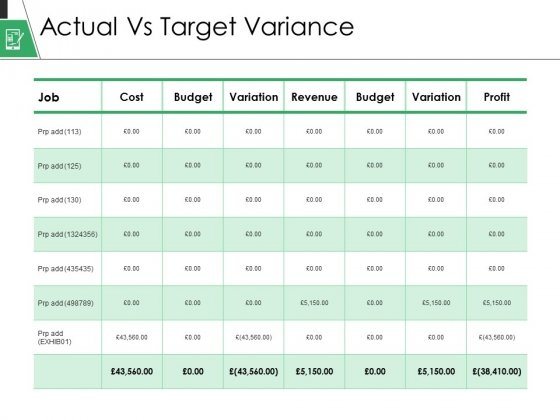 Actual Vs Target Variance Ppt PowerPoint Presentation Gallery Background