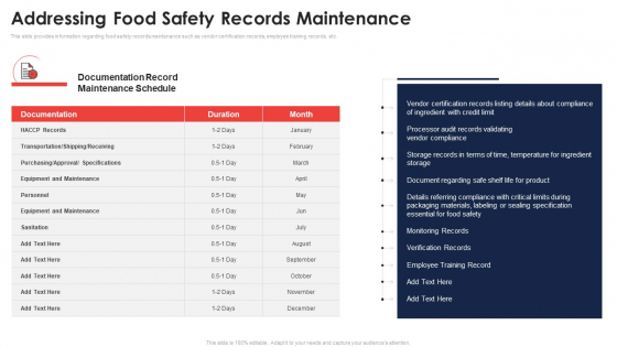 Addressing Food Safety Records Maintenance Application Of Quality Management For Food Processing Companies Slides PDF
