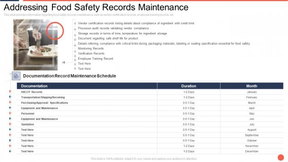 Addressing Food Safety Records Maintenance Assuring Food Quality And Hygiene Introduction PDF