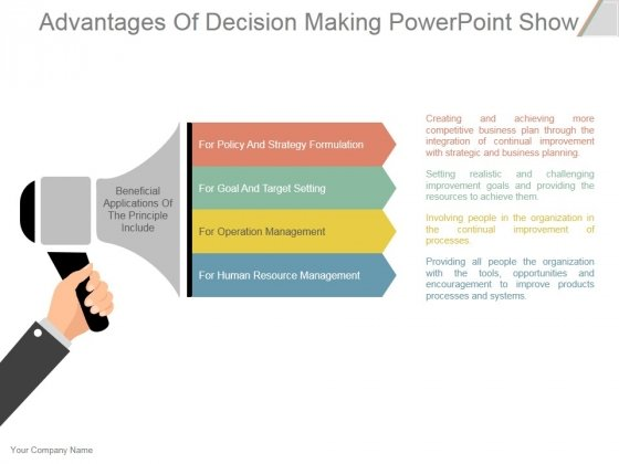Advantages Of Decision Making Ppt PowerPoint Presentation Influencers