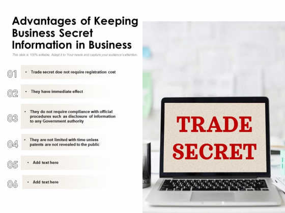 Advantages Of Keeping Business Secret Information In Business Ppt PowerPoint Presentation Gallery Layouts PDF