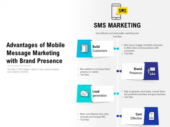 Advantages Of Mobile Message Marketing With Brand Presence Ppt PowerPoint Presentation Slides Graphics Download PDF