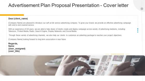 Advertisement Plan Proposal Presentation Cover Letter Ppt Gallery Slide PDF